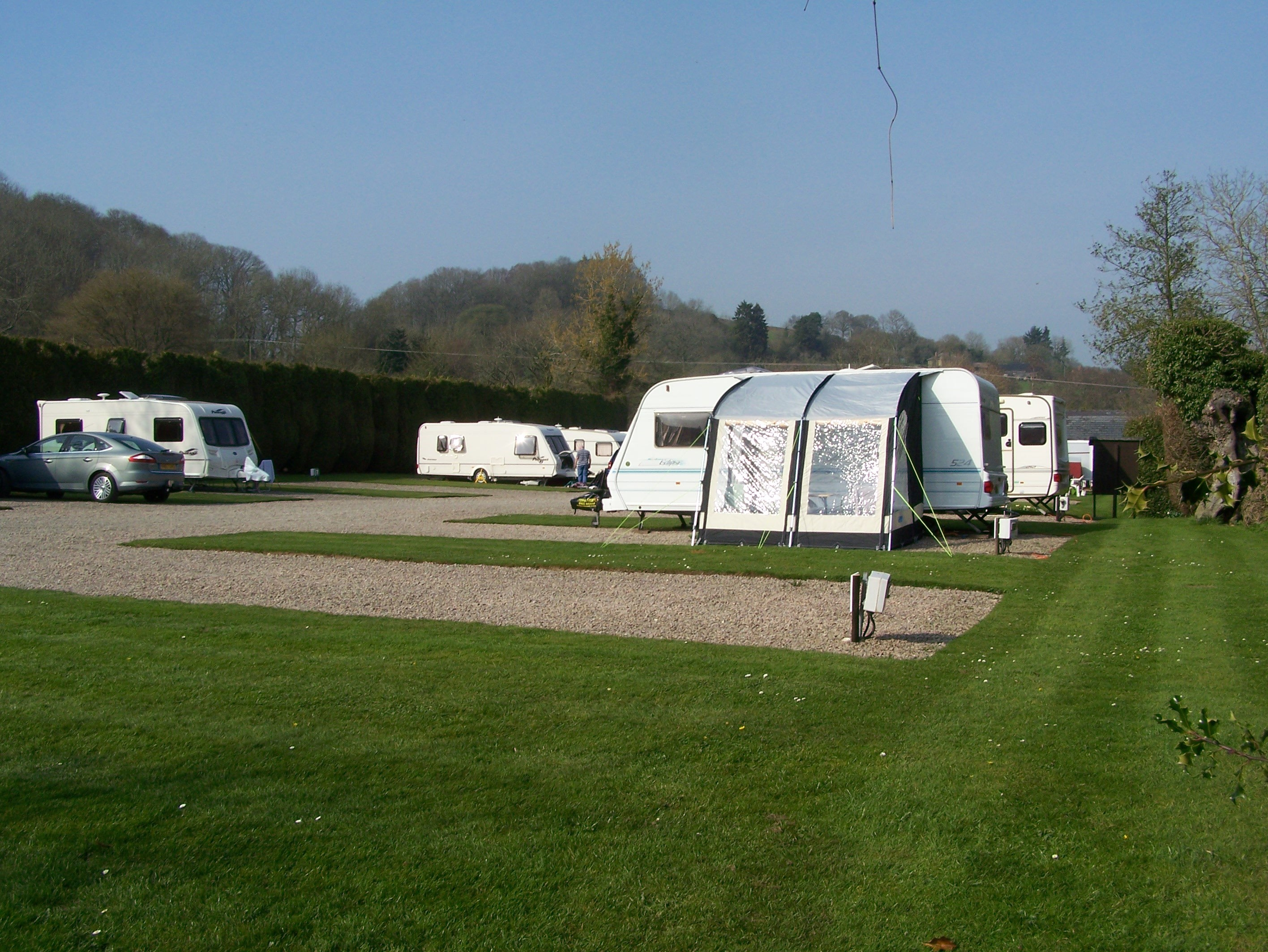 Large level touring pitches at Orleton Rise Holiday Home Park